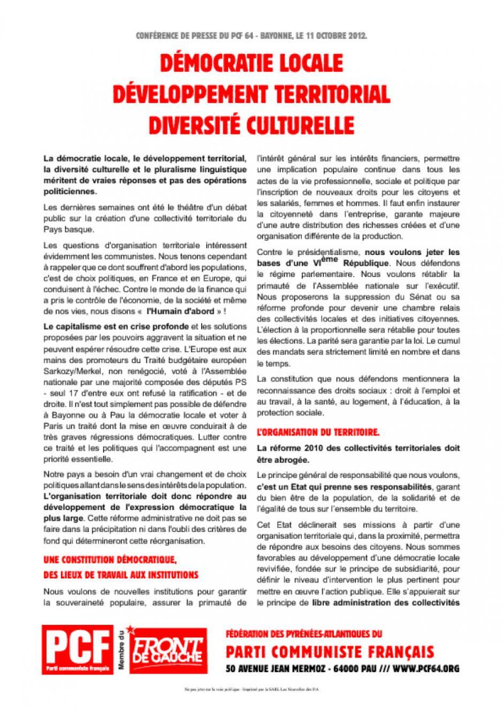Démocratie locale, développement territorial, diversité culturelle